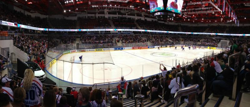 Panoramatický snímek Čížovky během utkání ČR-FRANCIE - MS v ledním hokeji Bělorusko 2014 - Sportsen.cz